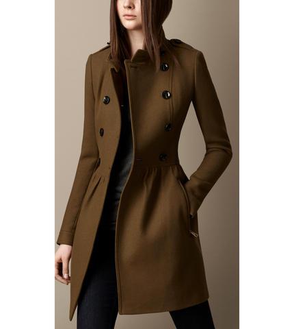 羊毛斜纹连衣裙大衣