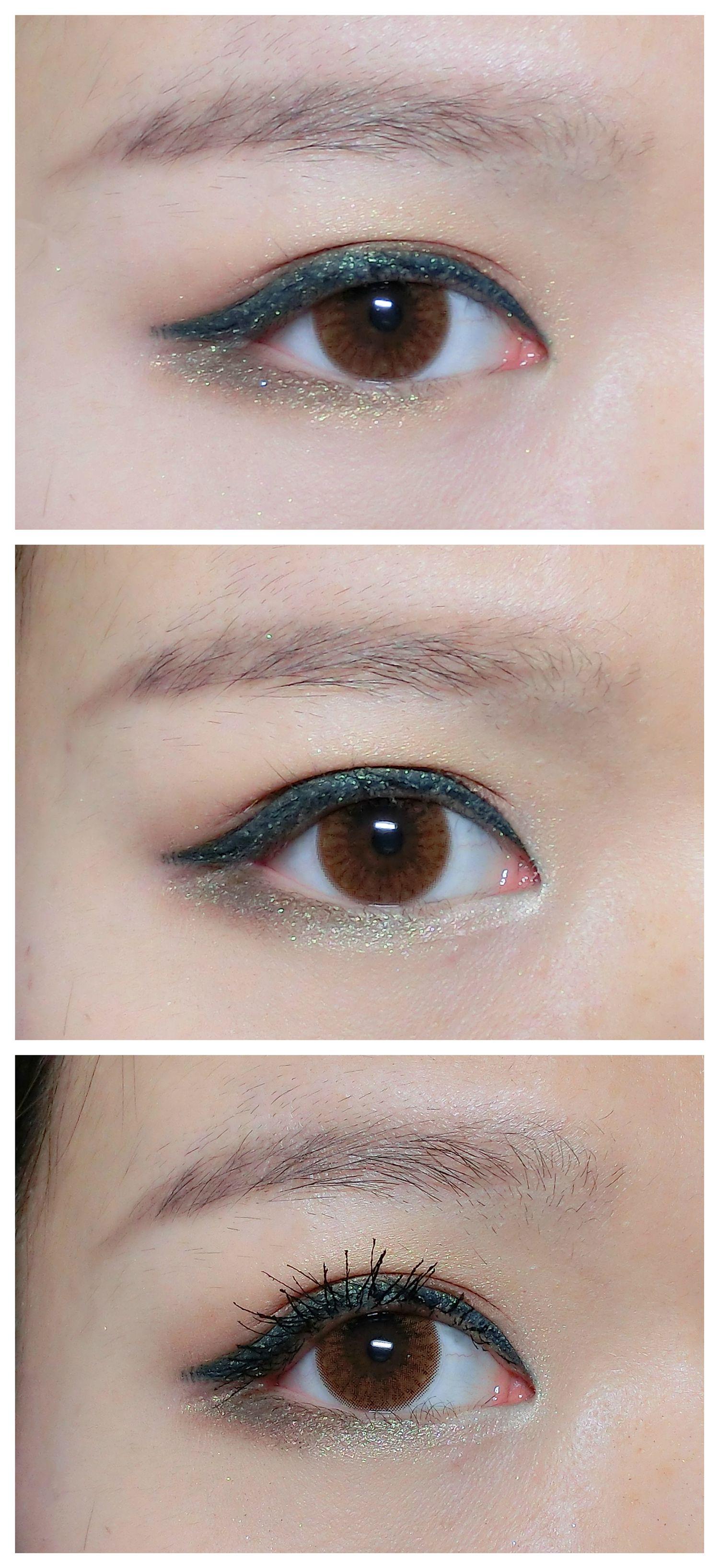 6:灰绿色眼影再次从里往外晕染下眼影,和上一步的金棕色形成过渡,眼尾和上眼线衔接。 小tips:下眼影要从眼尾往眼头画,眼下颜色里实外虚,眼尾重,往前晕染越来越淡,停止在眼球下方的位置就可以了。不要晕染到眼头。 7:眼头用高光色进行提亮。